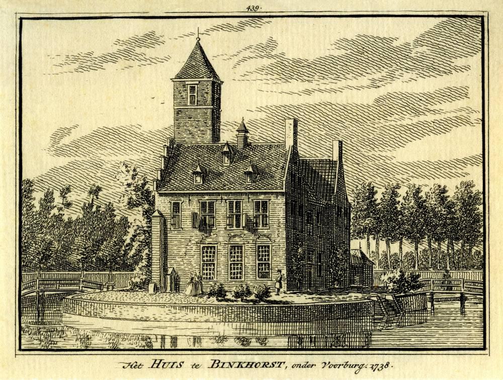 De Binckhorst in Voorburg. Tekening Abraham de Haen, gravure Hendrik Spilman (Uit: Het Verheerlykt Nederland, Isaac Tirion, 1745/1774)